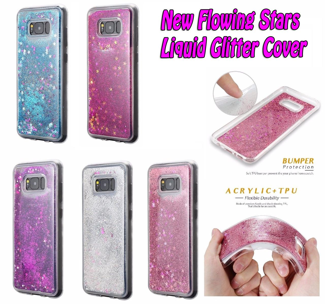 online store c3bbf 8e72b Samsung Galaxy S8 Plus Liquid Stars Glitter Cover Soft Gel TPU Rubber Bling  Case